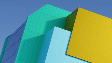 Abstract architectural composition of the building fragment cladding colored stripes of yellow, turquoise, blue. Against the background of the blue sky. 3D rendering Foto de archivo