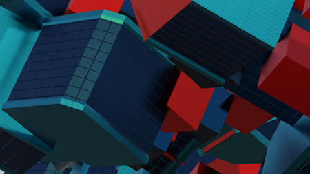 Abstract architectural composition made of cubes, building elements, cladding warm - cold colored. Against the background, motion - movement and rotation, 3D rendering