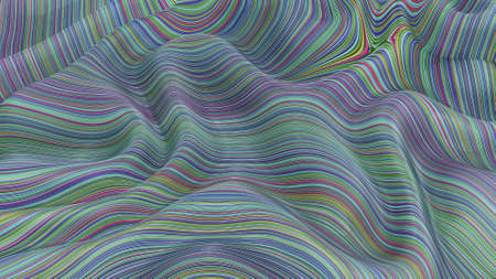 Texture of surface, multi-colored stripes with a fashionable color scheme, 3d rendering, fabric, mathematical surface, screensaver for a smartphone, monitor. embossed plane Foto de archivo