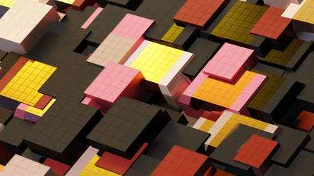 Abstract architectural composition made of cubes, aka building elements, cladding colored . Against the background, motion - movement and rotation, 3D rendering Foto de archivo