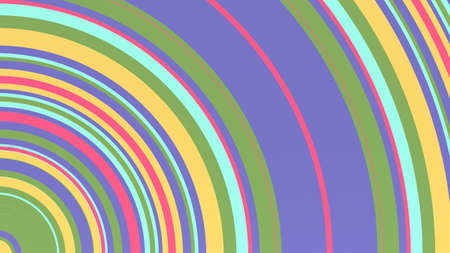 Circles 2D line art texture, colorful background with variable width radial bumped stripes, 3d rendering, red, blue, yellow, green Foto de archivo