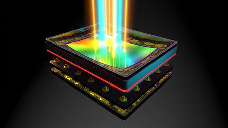 Curved sensor for digital camera, prototype 3D rendering, stacked: matrix, magnetic bender, memory, processor