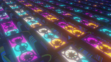Set of graphic cards, neon glowing concept of computational power and cryptocurrency mining, 3D rendering.