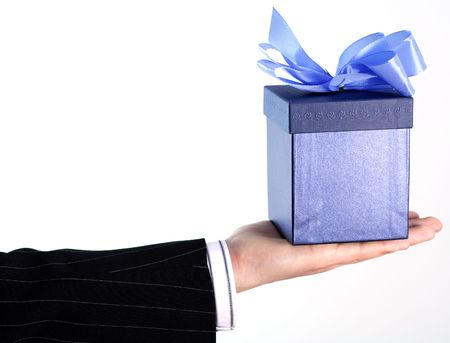 Businessman with gift Stock Photo