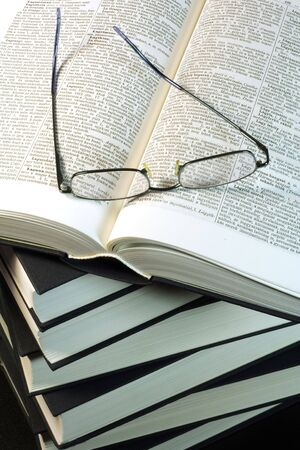 Glasses on a books Stock Photo