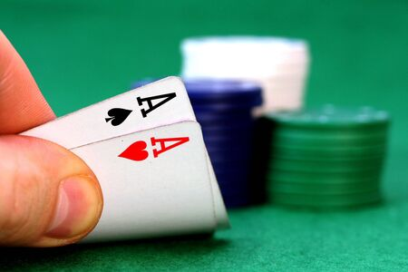 hold em: Aces and poker chips Stock Photo