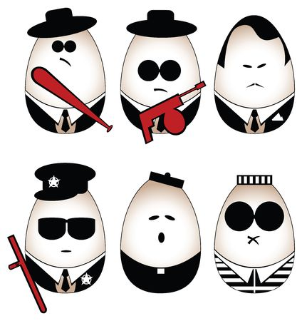 truncheon: Eggs figure (mafia, offender, policeman, divine, prisoner)