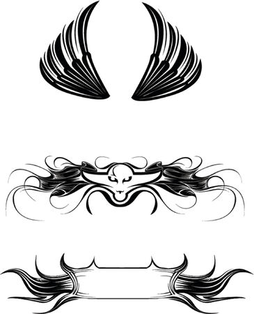 Vector illustrations (wings, signs, banner) Illustration