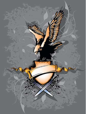 Banner with eagle and two sword