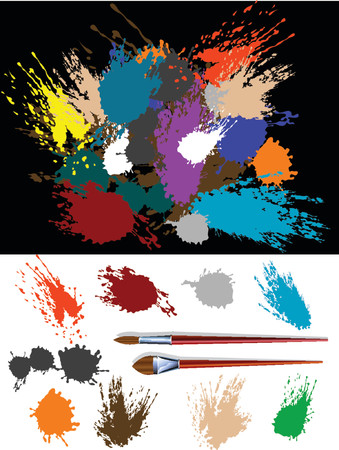 These are colorful vector splats silhouette and two brush Illustration