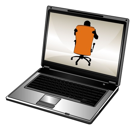 Vector humorous silhouette of businessman and opened laptop Stock Vector - 1789694
