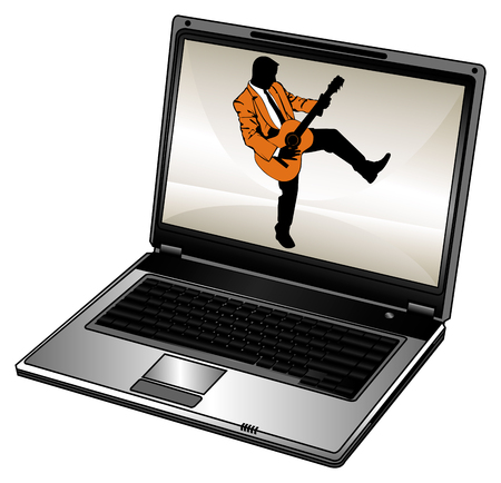 Vector humorous silhouette of businessman and opened laptop Stock Vector - 1789695