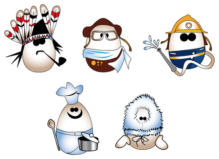 turnout: Eggs figure (redskin, pilot, fireman, cook, eskimo)