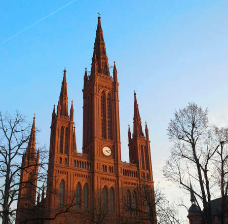 Church in Wiesbaden at sunset Stock Photo