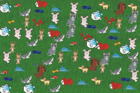 Hunde, Katzen und Fische auf einem grünen Hintergrund spielt Standard-Bild - 69912935