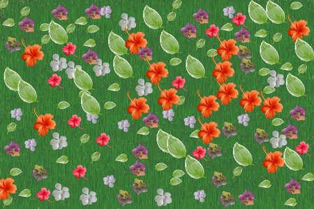 Blätter und Blumen auf grünem Hintergrund Standard-Bild - 69912937