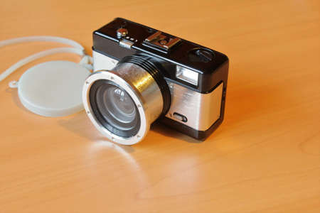 Film camera for lomography Is on the table Stock Photo