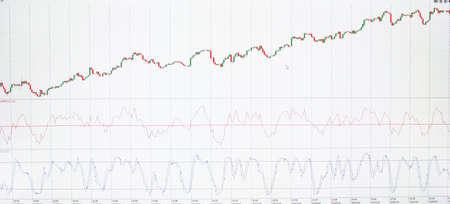 Grafik-Monitor Aktien und Währung Bars und Kerzen Standard-Bild - 70819158