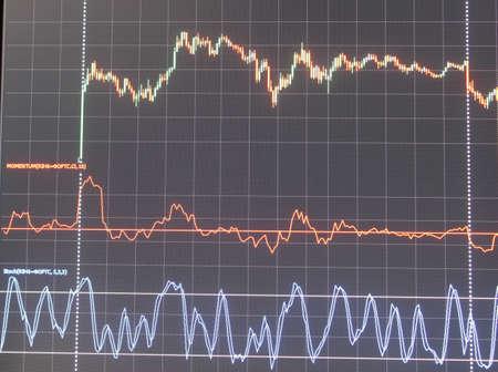 Grafik-Monitor Aktien und Währung Bars und Kerzen Standard-Bild - 70819580