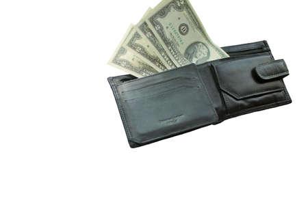 Schwarze Geldbörse mit Banknoten zwei Dollar auf weißem Hintergrund Standard-Bild - 73080205