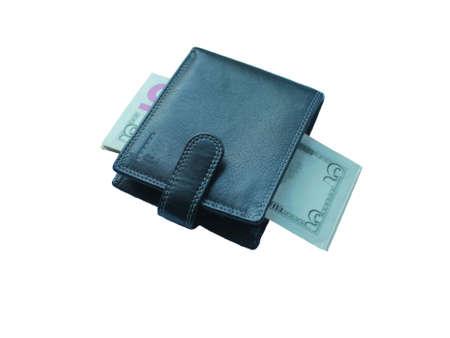Black Wallet with banknotes five dollars on white background Standard-Bild