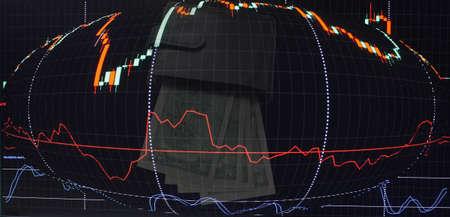 Geldbörse mit Dollar auf dem Hintergrund eines Candlestick-Charts Standard-Bild - 75743869