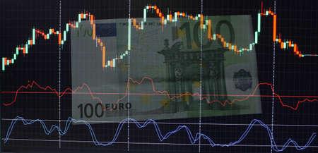 Geldbörse mit Dollar auf einem Hintergrund Diagramm Kerzenständer Standard-Bild - 75743913