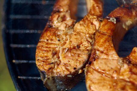 steaks of red fish grill Zdjęcie Seryjne