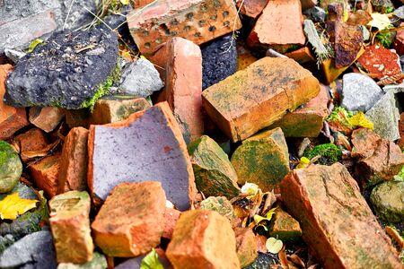 a pile of broken bricks and asphalt Stok Fotoğraf