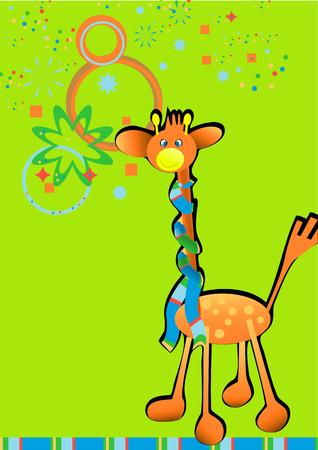 Ilustración de estilo de animación vectorial con la jirafa y el espacio libre para el texto. Foto de archivo - 5933161