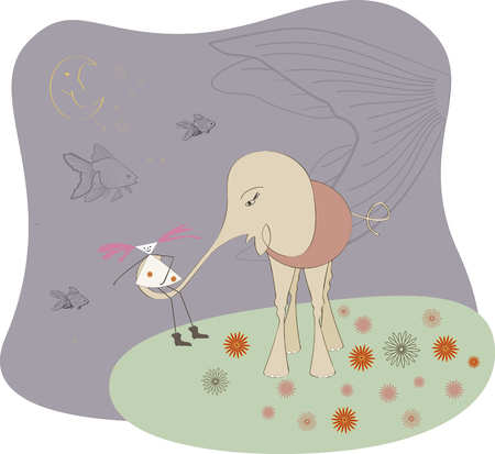 Elephant with the girl on night walk. on the sky of fish and star. Vector