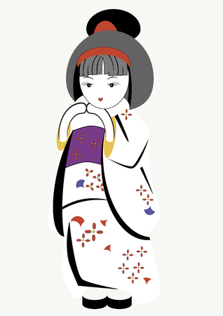 japan culture: Figurine of the Japanese girl in a national suit Illustration