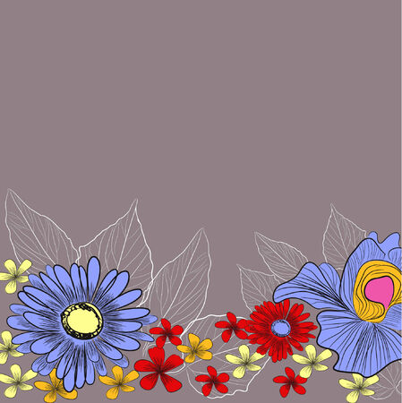 Decorative background with a lot of flowers Vector