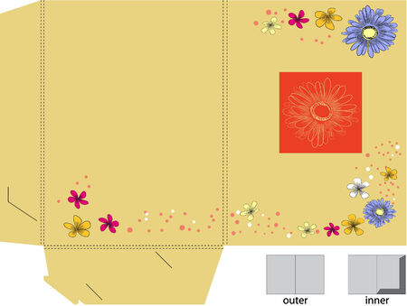 Decorative folder with die cut Vector