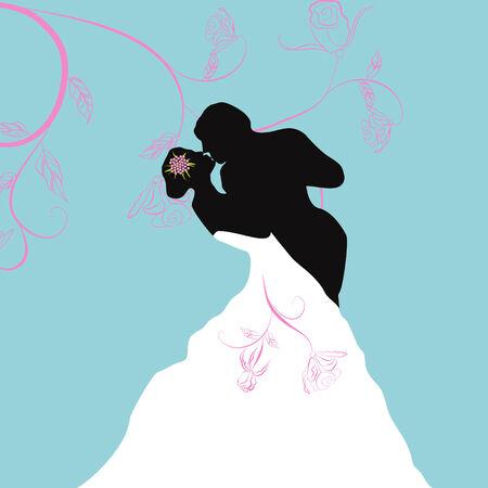 marriage ceremony: Beautiful bridal couple Illustration