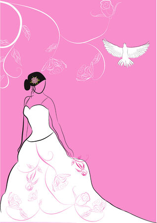 Bride with rose Stock Vector - 5953263