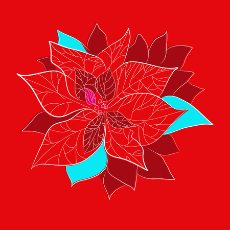 Red christmas flower with on red background Vector