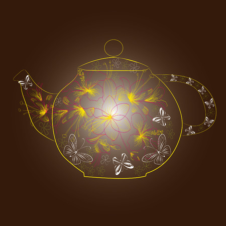 Decorative teapot with flowers Vector