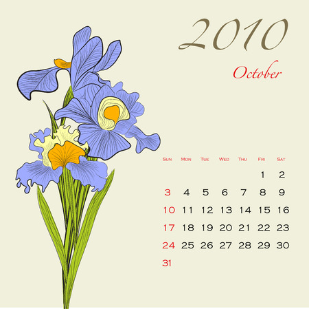 Decorative calendar for 2010 with flowers (October) Vector