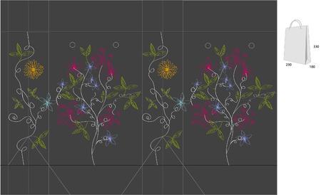 bolsa de regalo: Bolsa de regalo con corte de die (abstractos flores)  Vectores