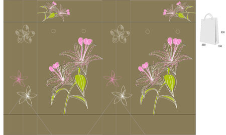 Gift folder with die cut (Lily flowers) Vector