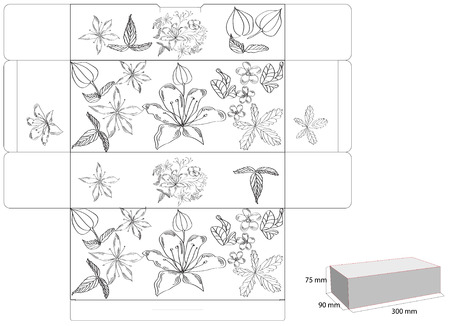 cut up: Decorative box with die cut (flowers)