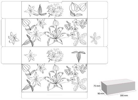 die: Decorative box with die cut (flowers)