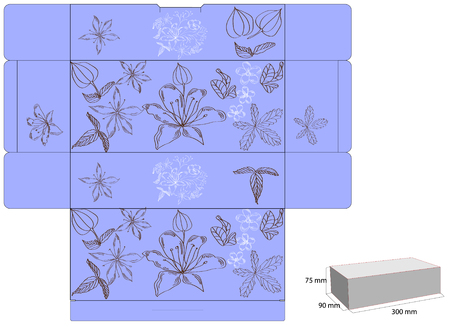Decorative box with die cut (flowers) Vector