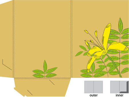 Decorative folder with die cut (flowers) Vector