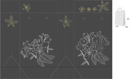 Decorative bag with die cut (flowers) Vector
