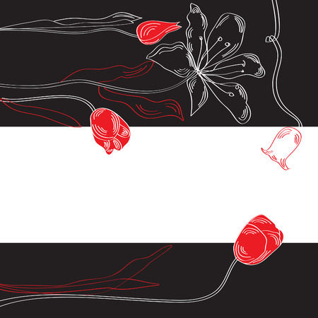 Black and white decorative background with tulips and lily Vector