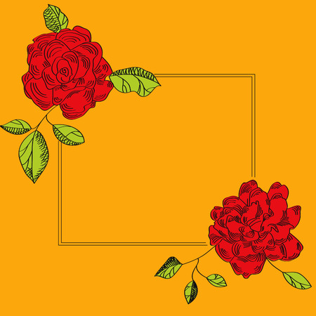 Yellow card with rose Vector