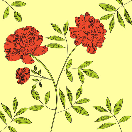 pion: Decorative background with pion flowers Illustration