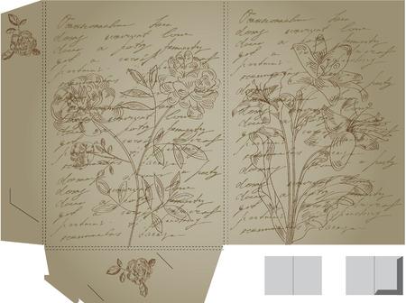 Retro decorative folder with flowers Vector